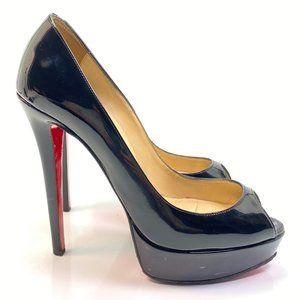 Christian Louboutin Banana Black Patent Heels 38